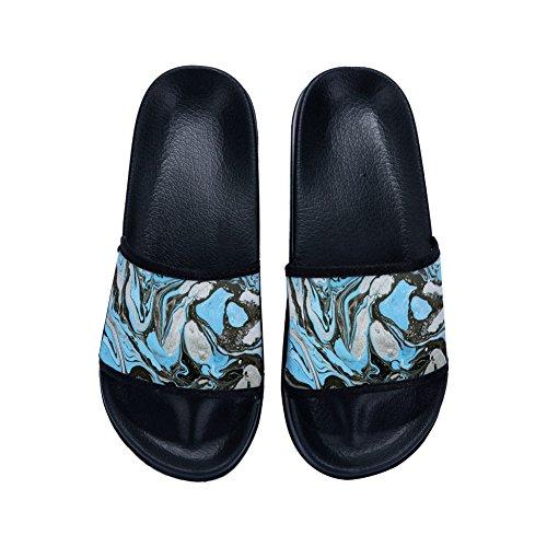 Sea Womens Graffiti for Black Slippers Drying Buteri Wave Quick Slippers Slip Non pTHxZ7