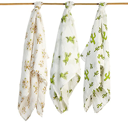 Baby Swaddling Blankets 100% Organic SILKY SOFT Muslin Cotton Bamboo For Boys & Girls - Exclusive Prints - Unique Gift Box - Unisex Adam & Elsa 3 Pack - Oversized (Trees Frog Cactus)