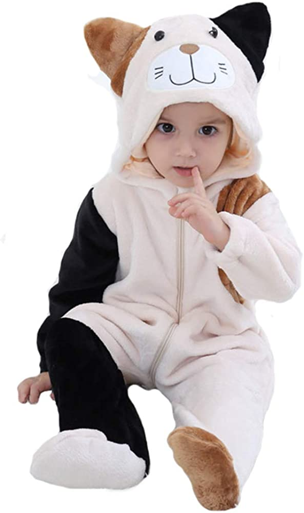 Tonwhar Inflant And Toddler Animal Onesie Cosplay Costume Baby Romper Jumpsuit 0-3 Years Baby Cartoon Animal Snowsuit Outfits