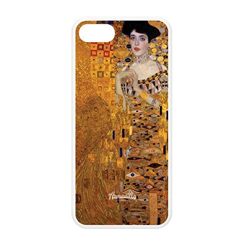 Portrait of Adele Bloch-Bauer by Gustav Klimt weiß Hülle zum Einrasten aus Silikon Gummi Schutzhülle Rückseite für iPhone 5 vom Painting Masterpieces + wird mit KOSTENLOSER klarer Displayschutzfolie g