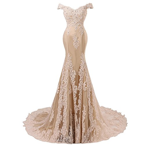 Mermaid V-neck Court Train - Off Shoulder Mermaid Long Lace Beaded Prom Dress Corset Evening Gowns Champagne US 12