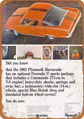 FemiaD 8 X 12 Vintage Look Metal Sign - 1965 Plymouth Barracuda Formula S