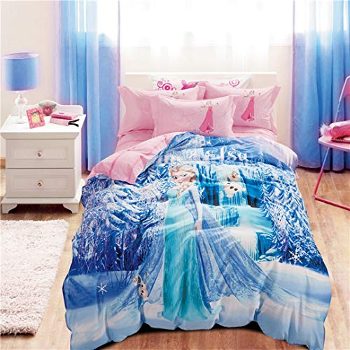 Casa 100% Cotton Kids Bedding Set Girls Princess Elsa Duvet Cover and Pillow Cases and Fitted Sheet,Girls,4 Pieces,Queen -