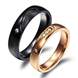 Fate Love Black & Rose Gold We are The Best Match Romantic Matching Heart Couple Promise Rings Set