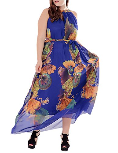 pgooodp Women's Floral Sundress Sleeveless Maxi Party Beach Dress Blue US 32W