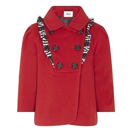 Mimi London - invierno niña Tacto Lana FRUNCIDO DETALLE doble botonadura abrigo - Rojo, 3