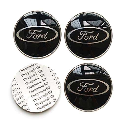 4PCS 65mm 2.56'' Auto Car Sticker Wheel Center Hub Cap Logo Aluminium fit for Ford (Black)
