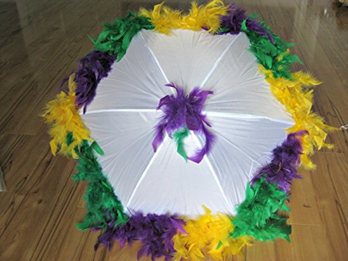 New Orleans Mardi Gras Second Line Umbrella with Purple, Green, Yellow Segmented Feather Accents on White Parasol