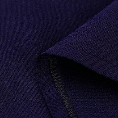 Courtes Robe soire Retro Vintage Manches Robe Fonc Femme Robe Classique Robes Courtes de Feixiang Femme pour Soire Chic Femmes Bleu Manches Peplum XvCwAqcx