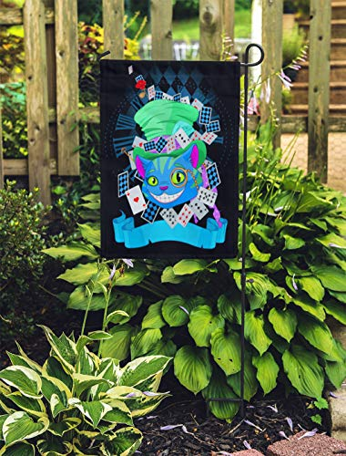 Semtomn Outdoor Decorative Garden Flag Wonderland of Cheshire Cat in Top Hat and Monocle House Yard Flag 28