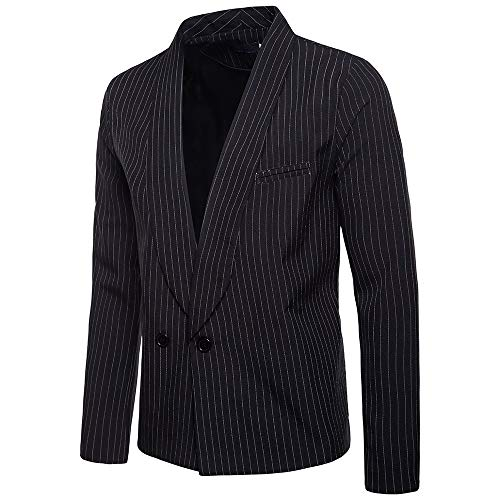 Charberry 2019 New Mens Clothes Fashion Charm Casual One Button Fit Suit Blazer Coat Jacket Striped Top Black from Charberry