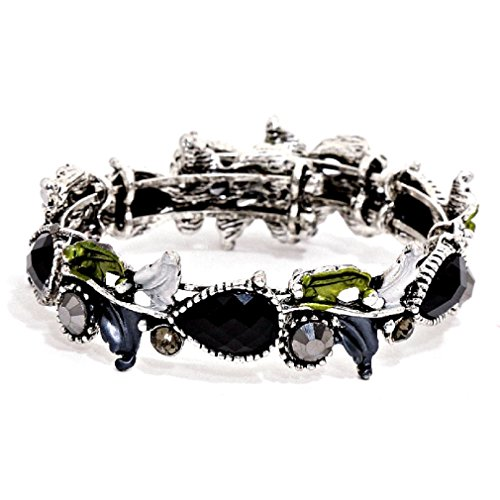 Uniklook Women's Elegant Black Silver Crystal Floral Design Bangle Bracelet Affordable Jewelry - Floral Design Bangle