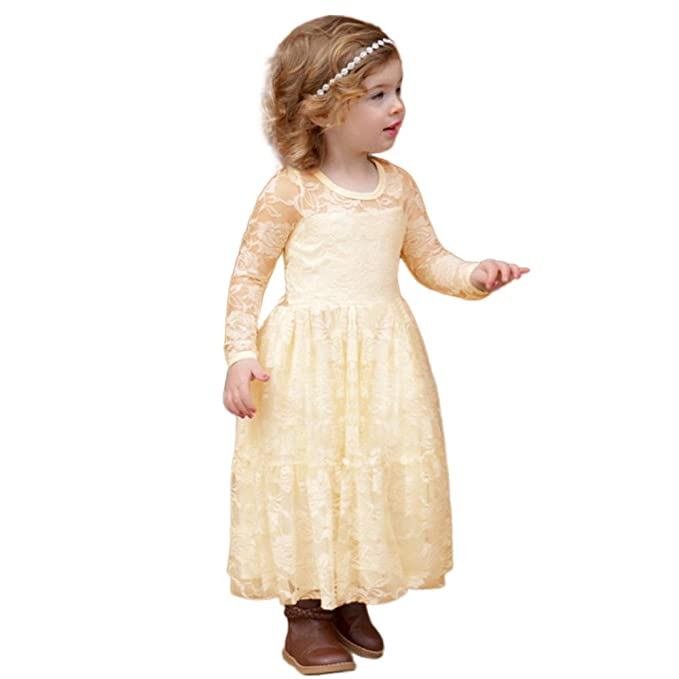 Amazon.com: Birdfly Little Girls Country Rustic Lace Dress Long ...