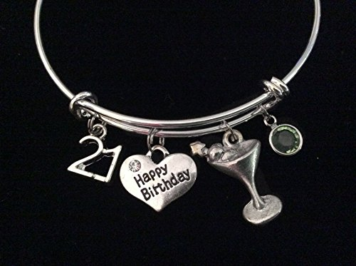 Happy 21st Birthday Martini Birthstone Expandable Silver Charm Bracelet Adjustable Bangle Trendy 21 Gift (Beverage Plated Silver)