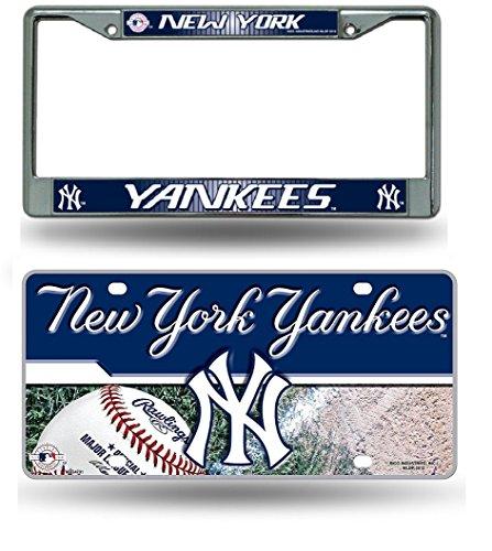 (Rico Industries York Yankees Chrome License Plate Frame & Yankess Metal Tag License Plate)