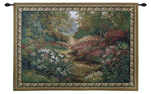 Along The Garden Path by Stefan | Woven Tapestry Wall Art Hanging | Garden Path Landscape Blooming Flowers Nature Trail Artwork | 100% Cotton USA - Path Tapestry Garden