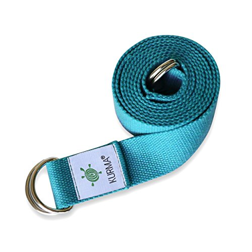 Yoga Belt Strap and Yoga Mat Carrying Sling in one, Cotton, Excellent Grip, Soft, For Stretching and Carrying Yoga Mat (Teal) by Kurma Yoga