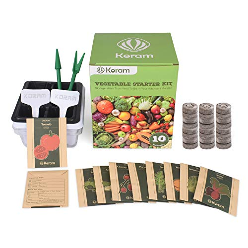 KORAM Vegetable Garden Starter Kit - 10 Organic Salad Seeds Organic Growing Kit DIY Gardening Starter Set with Everything a Gardener Needs for Growing Tomatoes Broccoli Cucumber for Christmas Gift