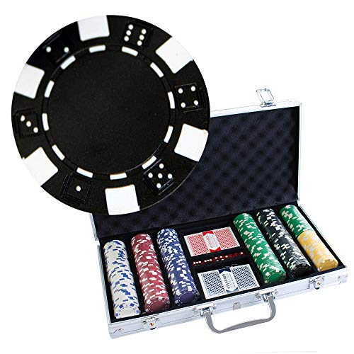 Brybelly 300 Casino Grade Striped Dice 11.5 gram Poker Chips w/Free Timer Dealer Button. Premium Composite Clay Poker Chips, Includes Aluminum Case.