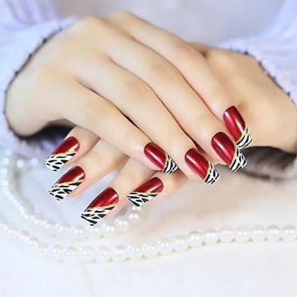 Yunai 24 pcs largo completo, uñas postizas, color francés estilo Ellipse Rojo Vino oblicuo leopardo clavos falsos: Amazon.es: Belleza