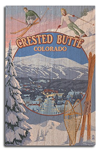 Lantern Press Crested Butte, Colorado - Ski Montage (10x15 Wood Wall Sign, Wall Decor Ready to Hang)