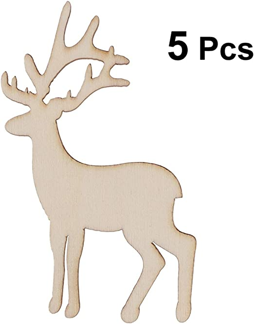 10 X Wooden Cutout Christmas Tree Reindeer Antler Craft Christmas Party Decor