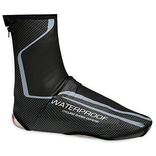 West Biking Men's Neoprene Cycling Shoe Covers - Windproof Waterproof Warm Thermal Bike Overshoes Winter Protector Black Green, Black Red (Gray, L) ()