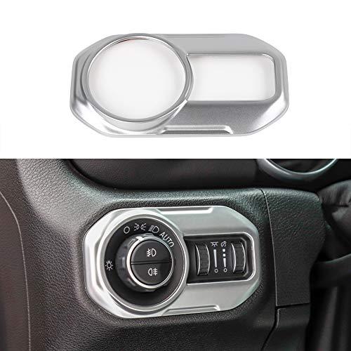 BORUIEN Silver ABS Car Headlight Control Panel Sticker Frame Decor Cover Trim for Jeep Wrangler JL 2018+ ()