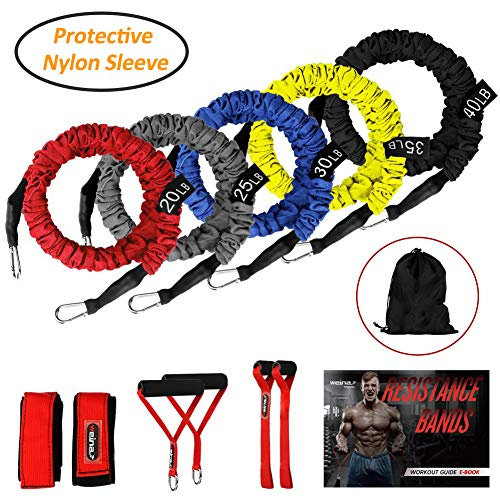 (Resistance Bands, 11 Pieces Exercise Elastic Bands Set, 20lbs to 40lbs Resistance Tubes with Heavy Duty Protective Nylon Sleeves Anti-Snap for Fitness-5 Bands Door Anchors Ankle Strap Handles Bag)