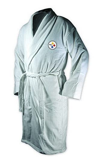 mcarthur sports pittsburgh steelers logo embroidered bath robe one size fits most