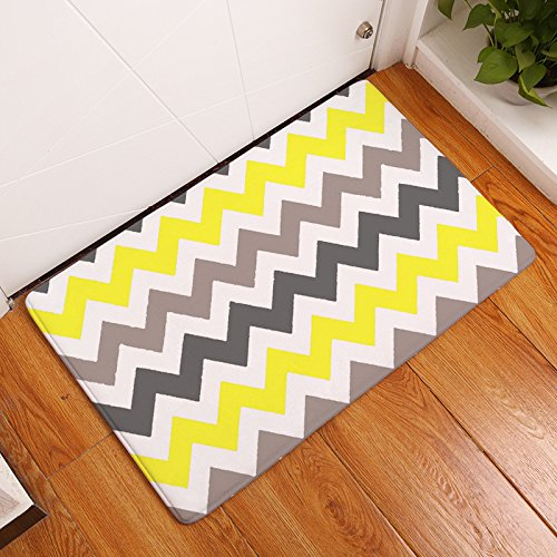 FANNEE Yellow and Grey Chevron Zig-Zag Doormat, Indoor/Outdoor Floor Mat