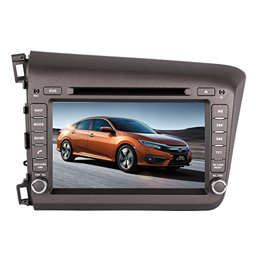 8 Inch Touchscreen Monitor Car GPS Navigation System for HONDA CIVIC 2012 Car Stereo DVD Player w/ Radio+RDS+Bluetooth+SWC+AUX In+Free Backup Rear View Camera+Free US Map by Indiny