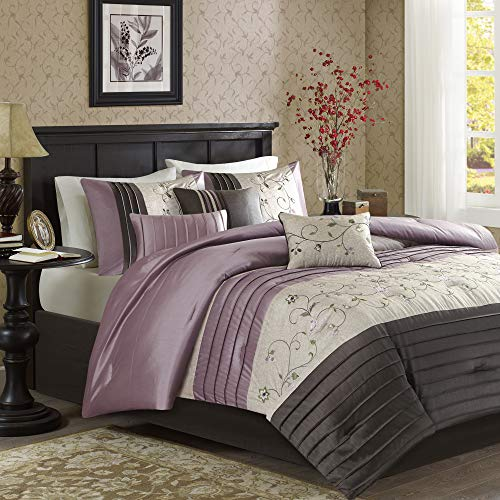 Madison Park Serene King Size Bed Comforter Set Bed in A Bag - Purple, Embroidered – 7 Pieces Bedding Sets – Faux Silk Bedroom ()