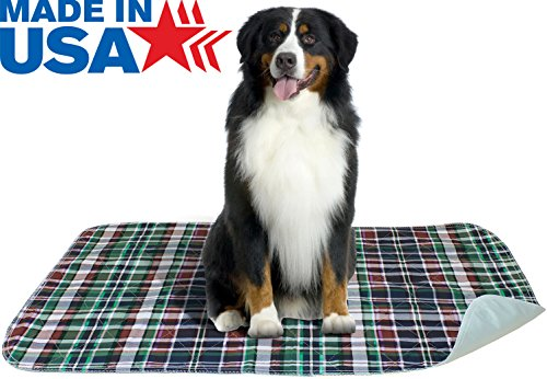 2 PACK - Plaid Waterproof Reusable / Quilted Washable Large Dog / Puppy Training Travel Pee Pads Size 24 x 36 - Pee Pads Reusable