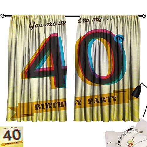 Aurauiora Room Darkening Wide Curtains 40th Birthday,Vintage Style Graphic Banner Party Invitation Theme Optical Striped Design,Multicolor 63