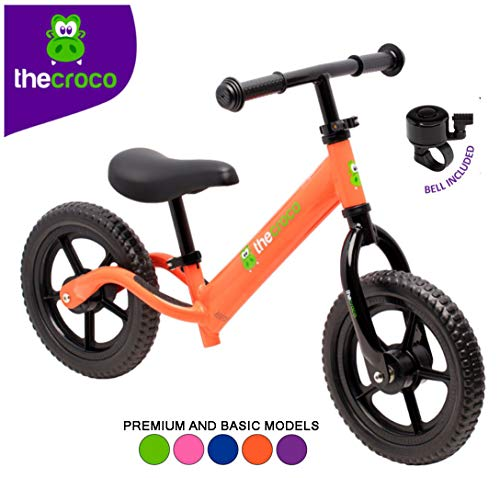 TheCroco Lightweight Balance Bike for Toddlers and Kids... (Orange, Premium Aluminum)