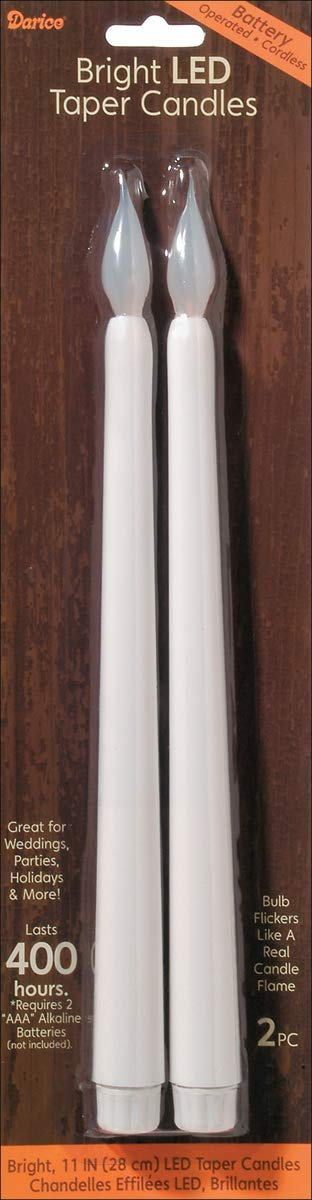 Bright LED Taper Candles 11 Inches White (8 Pack)