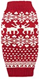 Red Christmas Reindeer Holiday Festive Dog Sweater for Dogs,Large (L) Size