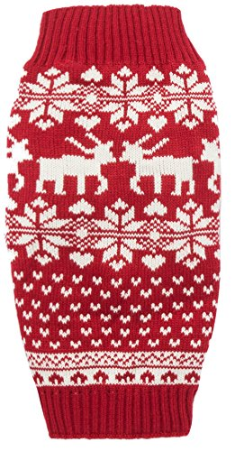 Lanyar Dog Reindeer Holiday Pet Clothes Sweater for Dogs Puppy Kitten Cats, Classic Red