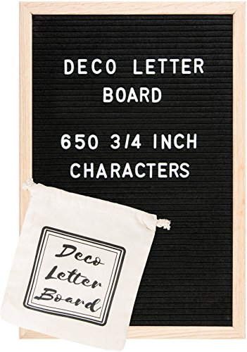 Changeable Felt Letter Board 12x18 Inspirational Message Letterboard With 650 Letters, Numbers & Symbols – Solid Oak Wood Frame With Wall Mount – Big Letter Bag Included by decoboardletter