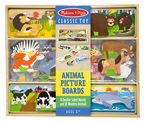 Melissa & Doug Wooden Animal Picture Puzzle Boards with Chunky Wooden Animal Playpiece (24 Pcs) Toy (Pictures Animal)