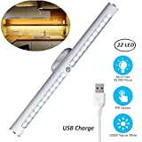 Motion Sensor LED Light Under Cabinet Lights, USB Rechargeable 22-LED Closet Light Magnetic Removable Stick-On Anywhere Safe Light Bar for Drawer/Entrance/Kitchen/Restroom/Mirror (2 Modes-Warm)