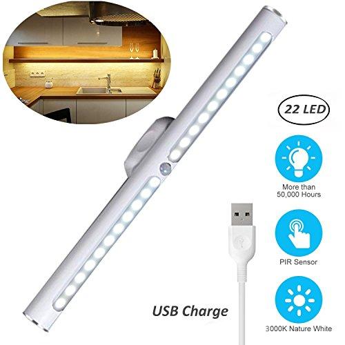 Motion Sensor LED Light Under Cabinet Lights, USB Rechargeable 22-LED Closet Light Magnetic Removable Stick-On Anywhere Safe Light Bar for Drawer/Entrance/Kitchen/Restroom/Mirror (2 Modes-Warm) by O'BLACK