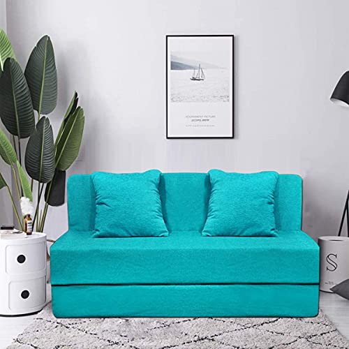 Aart Store Sofa Cums Bed Furniture Three Seater 5x6 Feet with Two Cushion Perfect for Guest Sky Blue