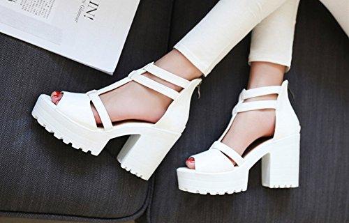 Aisun Womens Trendy Confortable T Sangle Peep Toe Plateforme Robe Sandales Blanc