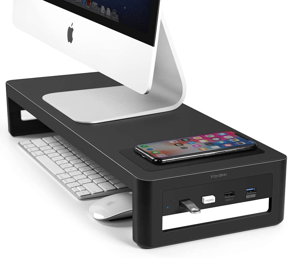 VAYDEER Iron Monitor Stand Riser with USB3.0 Hub and Qi Wireless Charger Support Data Transfer Keyboard and Mouse Storage Desk Organizer for Laptop Computer Up to 27 inches and 66 pounds(Qi)