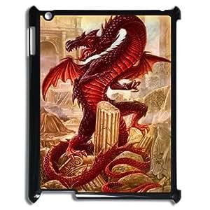 J-LV-F Cover Custom Case Red Dragon,customized Hard Plastic case For IPad 2,3,4
