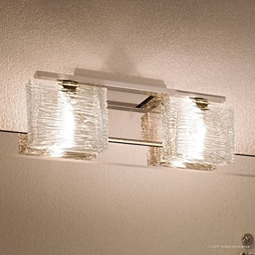 Luxury Modern Bathroom Light, Medium Size: 6.75''H x 15''W, with Style Elements, Polished Chrome Finish and Sandblasted Inner, Clear Wavy Outer Glass, G9 LED Technology, UQL2721 by Urban Ambiance by Urban Ambiance (Image #8)