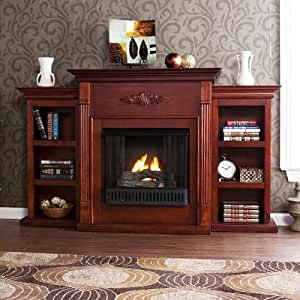 42 39 39 electric fireplace led light with book shelf tv media stand mahogany home. Black Bedroom Furniture Sets. Home Design Ideas