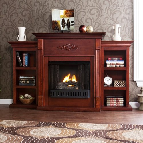 Brown Mahogany Electric Fireplace (42'' Electric Fireplace LED Light with Book Shelf, TV/Media Stand, Mahogany)